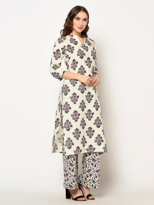 ZNX Women Off White Floral Printed Straight  Kurta with Palazzo Set