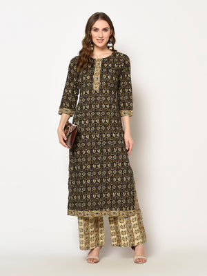 ZNX Women Brown Floral Printed Straight  Kurta with Palazzo Set