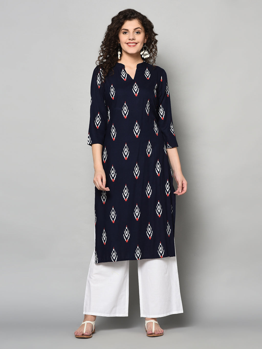 ZNX Women Navy Blue & Off White Printed Straight Kurta with Palazzo Set (Fully Stitched)