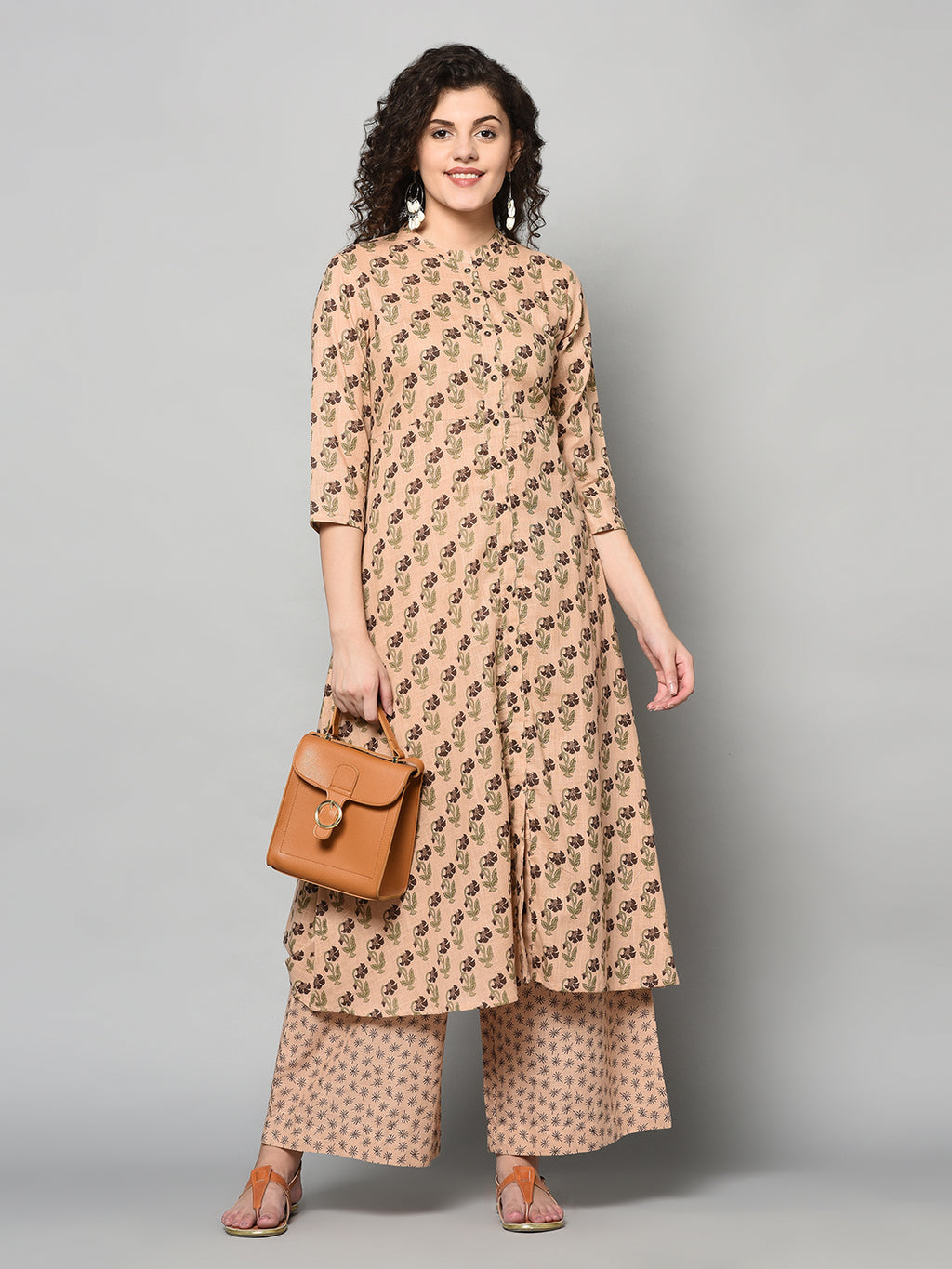 ZNX Women Brown Printed Straight Kurta with Palazzo Set (Fully Stitched)