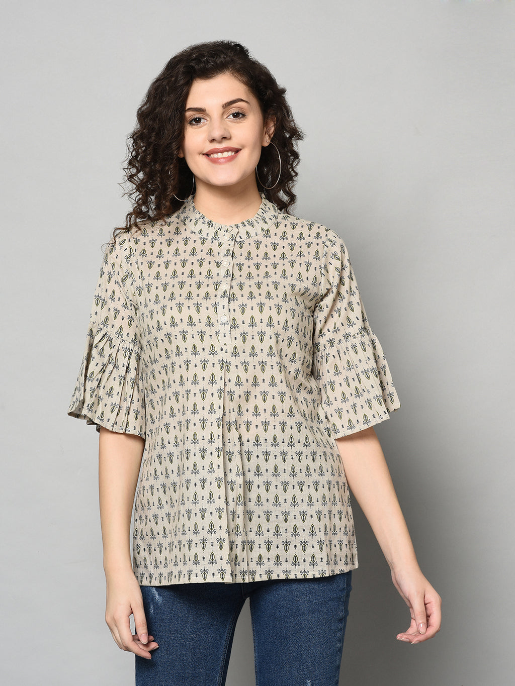 ZNX Women Cream Coloured Printed Tunic (Fully Stitched)