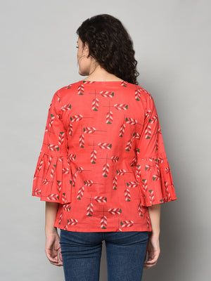 ZNX Women  Red Printed Tunic (Fully Stitched)