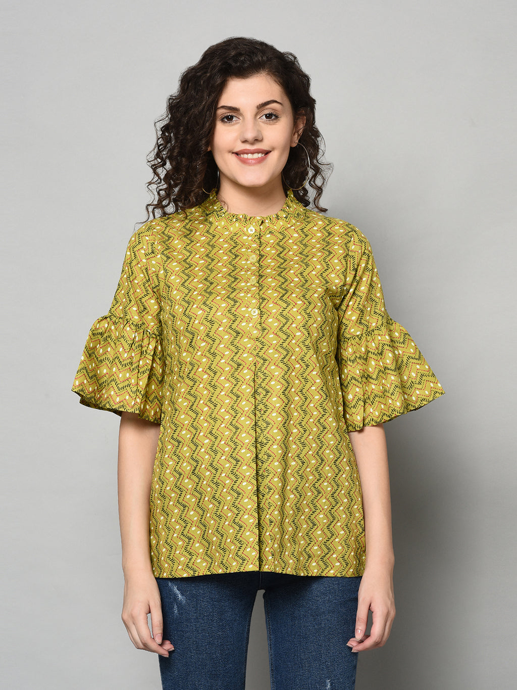 ZNX Women Green Printed Tunic (Fully Stitched)