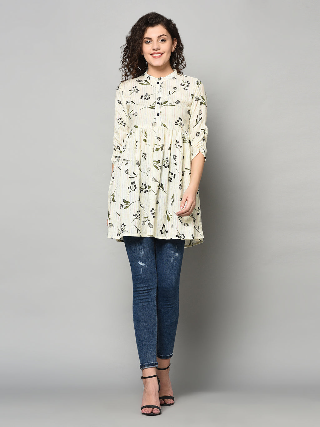 ZNX Women  Off White & Black Printed Tunic (Fully Stitched)