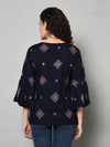 ZNX Women Navy Blue Printed Tunic (Fully Stitched)