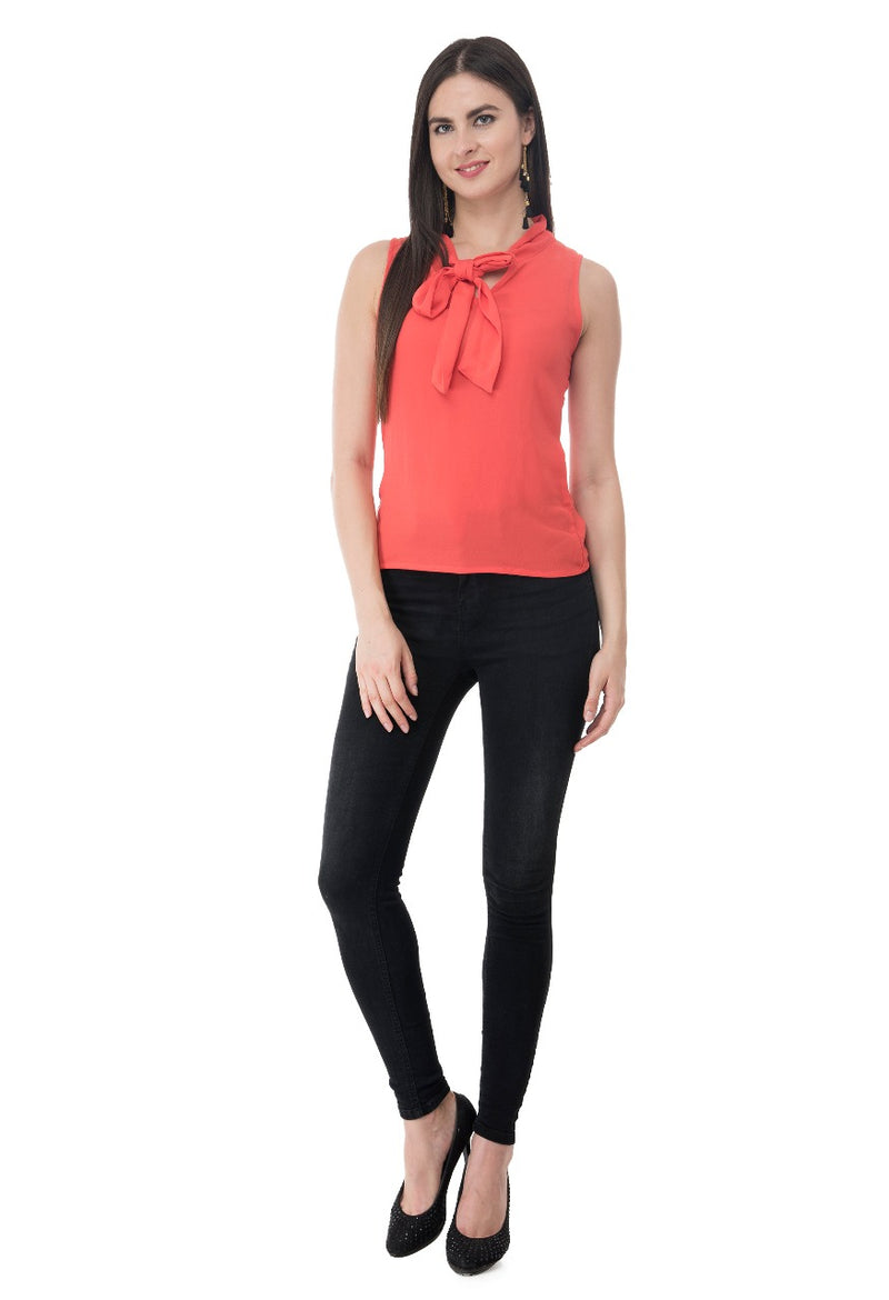 Tie-Neck Sleeveless Top | Znx4ever.com