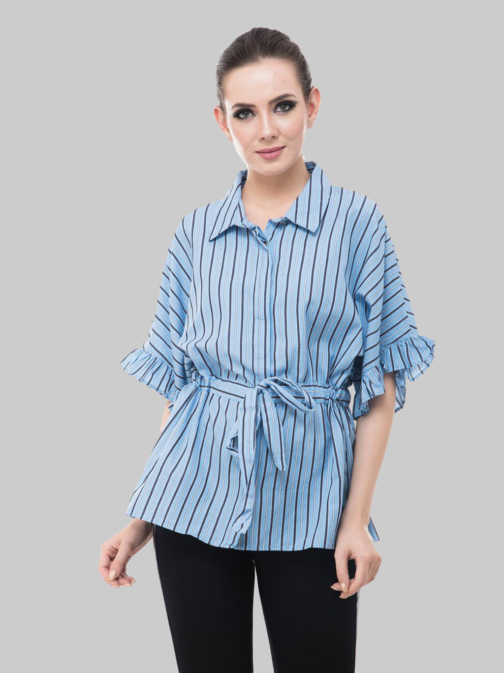 Concealed Placket Front Knot Top | Znx4ever.com