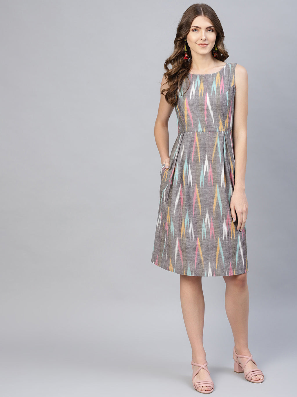 Grey Ikkat Printed Short Dress  (Fully Stitched) | Znx4ever.com