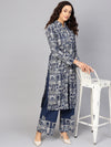 Blue Hawa Mahal Print Kurta Set With Contrast Detail (Fully Stitched) | Znx4ever.com
