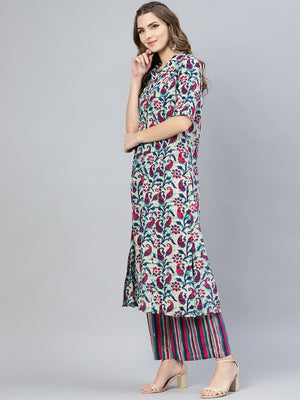 Multi Colored Printed Kurta Set With Plazzo  (Fully Stitched) | Znx4ever.com