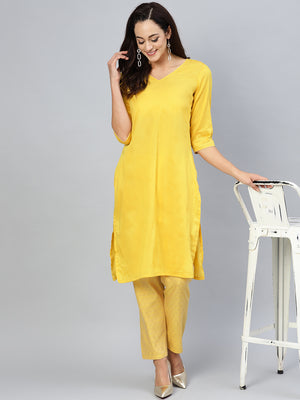 Yellow Solid Kurta Set (Fully Stitched) | Znx4ever.com