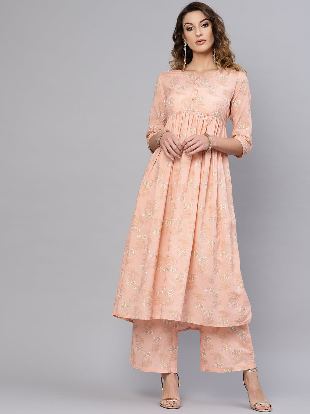 Peach Gold Printed Kurta Set With Palazzo  (Fully Stitched) | Znx4ever.com