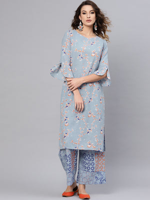 Blue Printed Kurta Set  (Fully Stitched) | Znx4ever.com