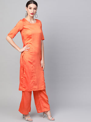 Orange solid kurta set with digital printed dupatta(Fully Stitched) | Znx4ever.com