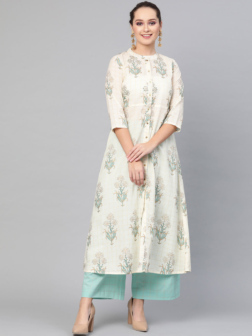 Cream and blue A-line kurta set (Fully Stitched) | Znx4ever.com