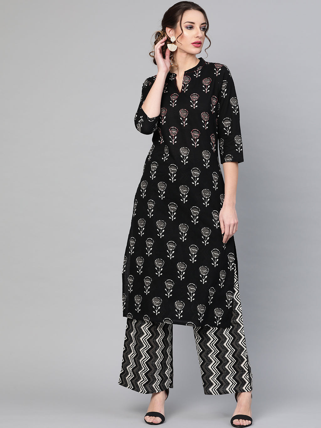 Black printed kurta set(Fully Stitched) | Znx4ever.com