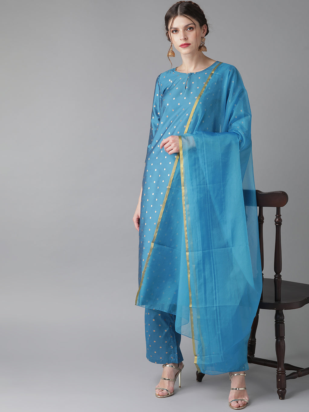 Blue kurta with palazzo and dupatta( Fully Stitched)