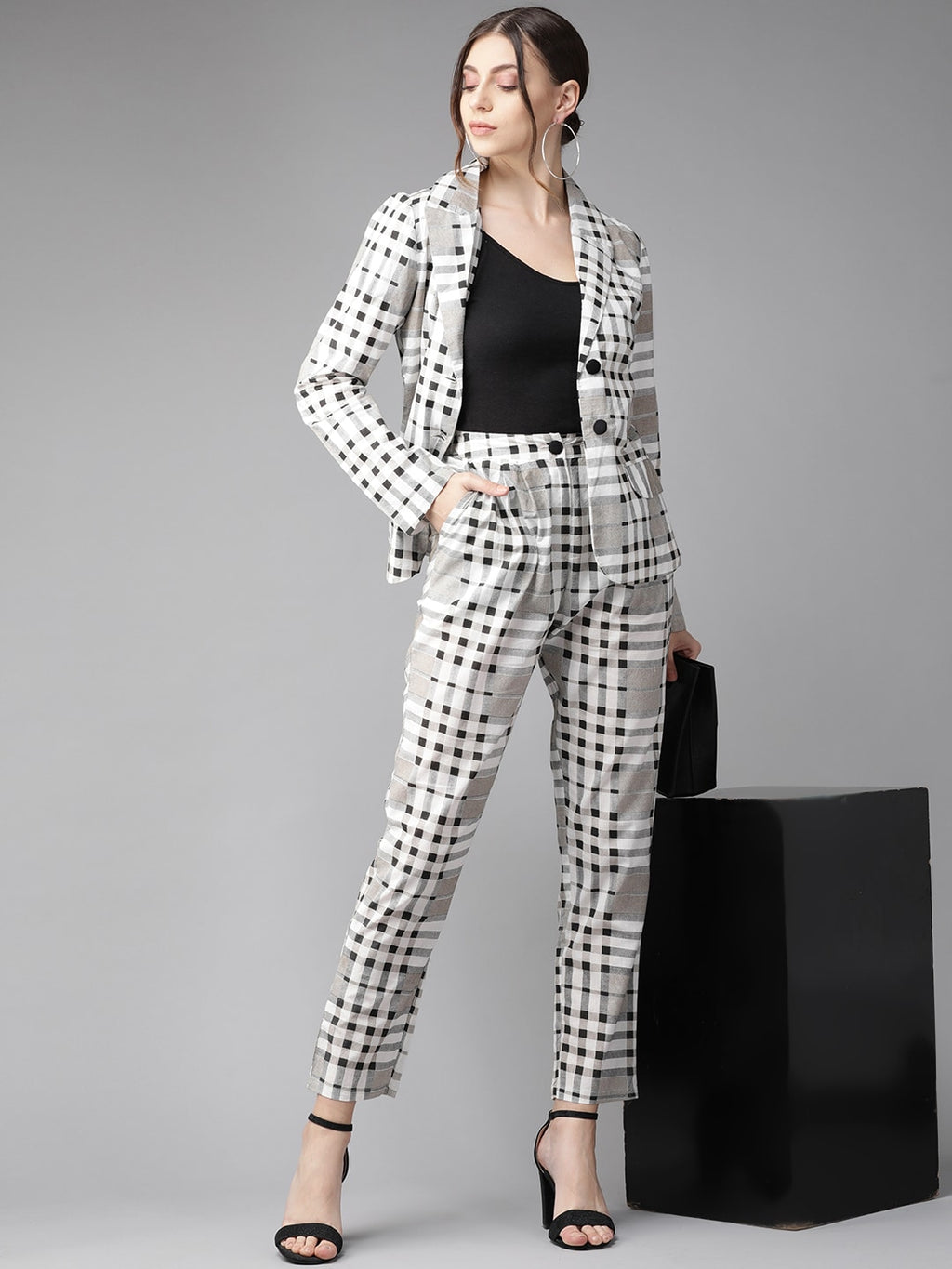 White & Black Checked Blazer with Trousers (Fully Stitched)
