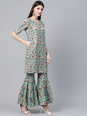 Green & Orange Printed Kurta with Sharara & Dupatta (Fully Stitched)