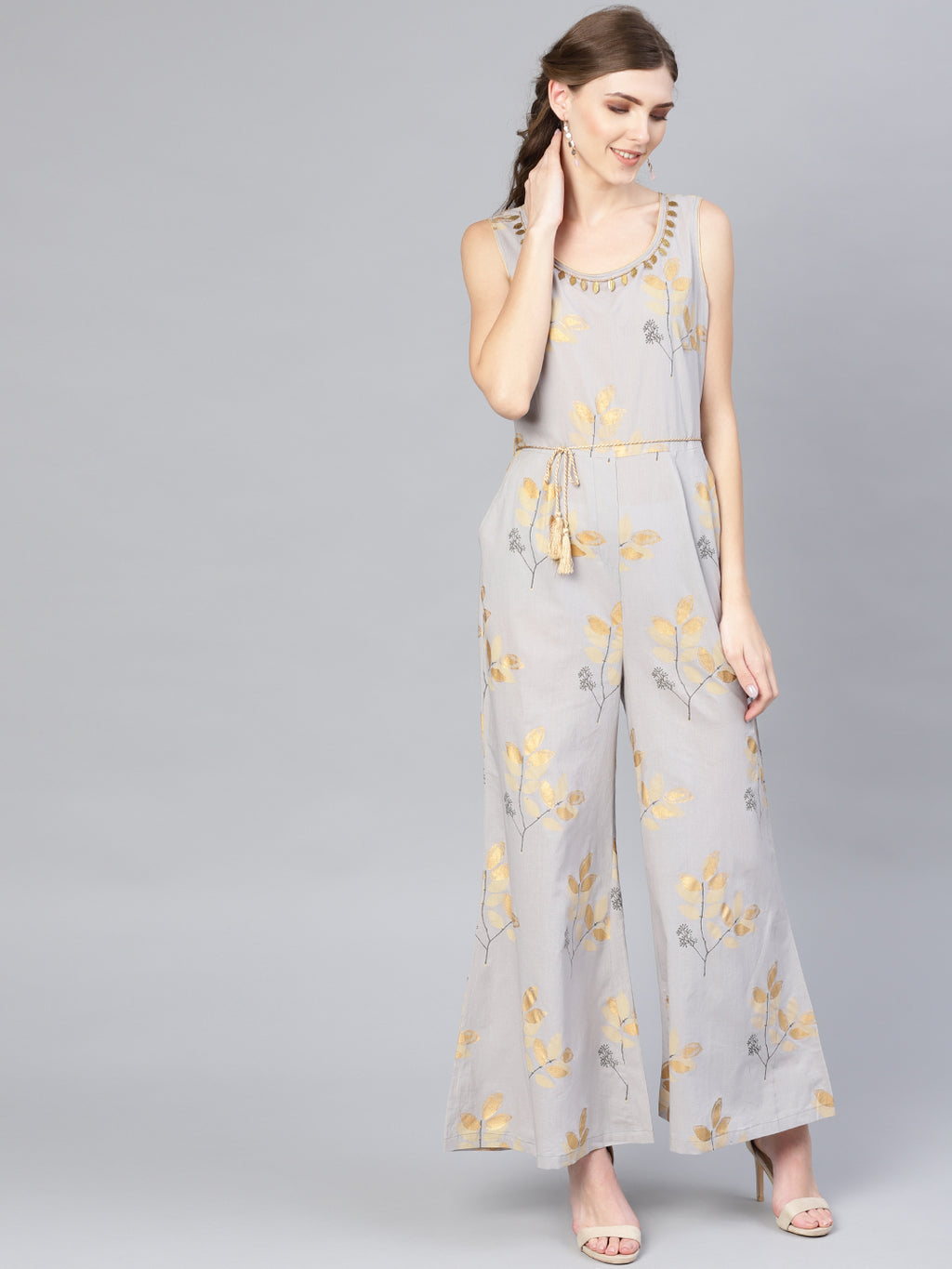 Grey Gold Printed Jumpsuit (Fully Stitched) | Znx4ever.com