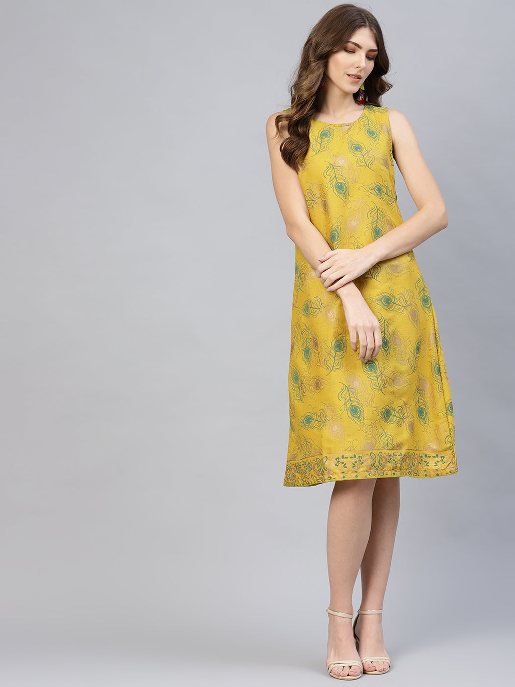 Yellow Gold Printed Shift Dress (Fully Stitched) | Znx4ever.com