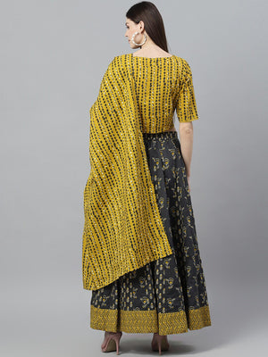Mustard & Grey Printed Lehenga Choli Set