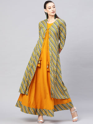 Green Mustard Maxi Dress With Jacket  (Fully Stitched) | Znx4ever.com