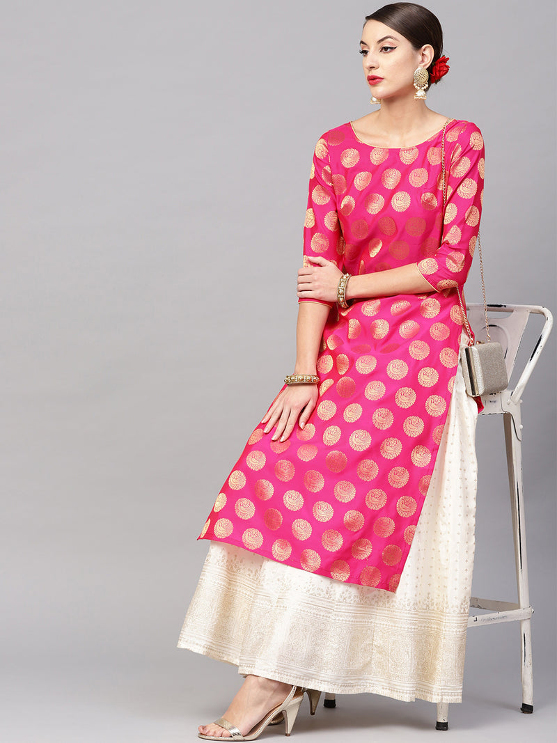 Pink Gold Self Designed Staright Kurta (Fully Stitched) | Znx4ever.com
