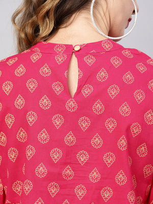 Magenta printed tunic with bishop sleeves (Fully Stitched) | Znx4ever.com