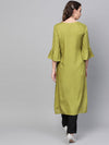 Lemon green straight kurta with flutter sleeve (Fully Stitched) | Znx4ever.com