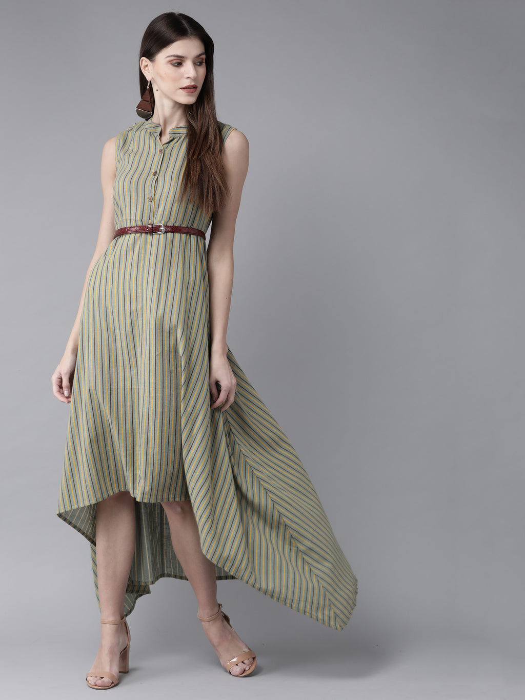 Green & Yellow Striped Maxi Dress ( Fully Stitched)