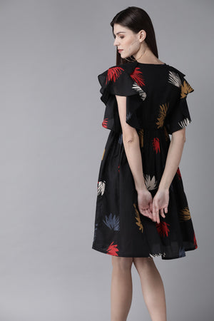 Black & Red Printed A-Line Dress ( Fully Stitched) | Znx4ever.com