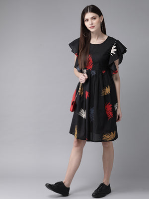 Black & Red Printed A-Line Dress ( Fully Stitched)