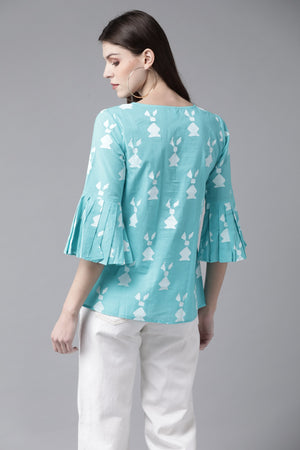Blue & White Printed Tunic ( Fully Stitched) | Znx4ever.com
