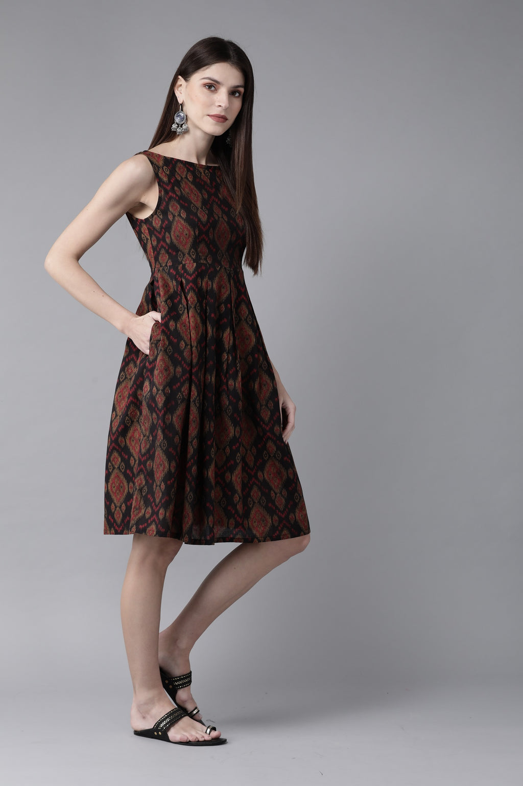 Black & Maroon Printed A-Line Dress ( Fully Stitched) | Znx4ever.com