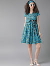Blue leopard print dress( Fully Stitched)