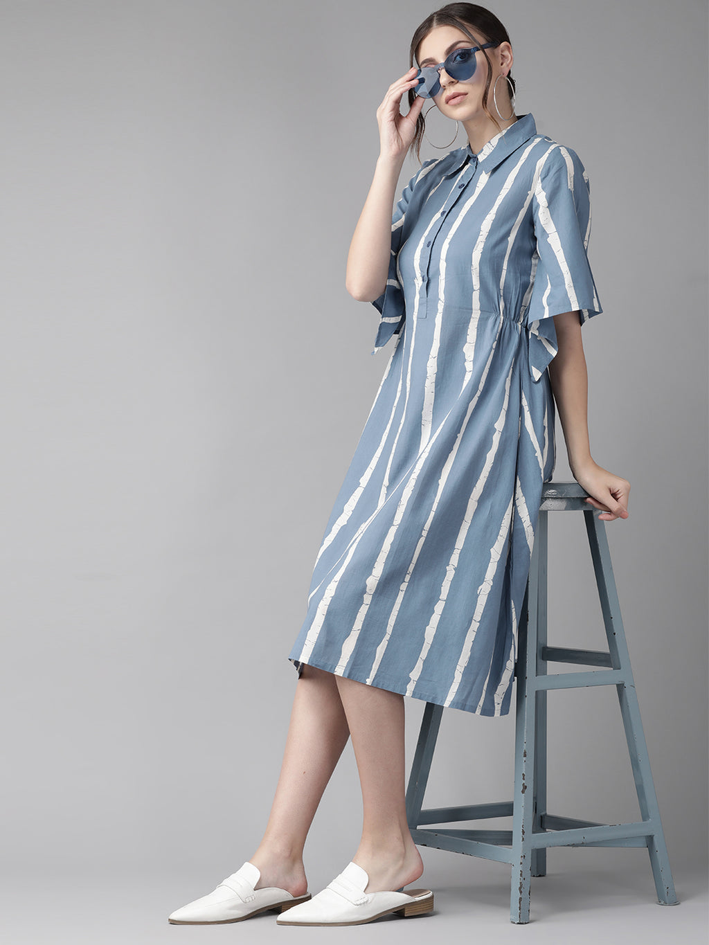 Blue & White Striped Shirt Dress (Fully Stitched)