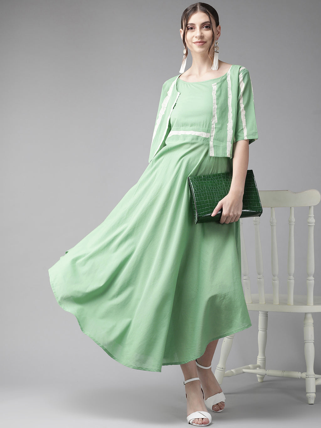 Green Solid A-Line Dress with Jacket (Fully Stitched)