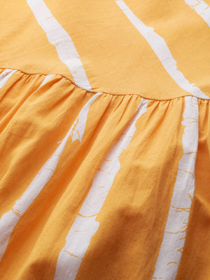 Mustard Yellow & White Striped A-Line Dress (Fully Stitched)