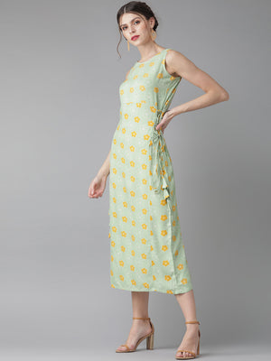 Mint floral dress with loops( Fully Stitched)