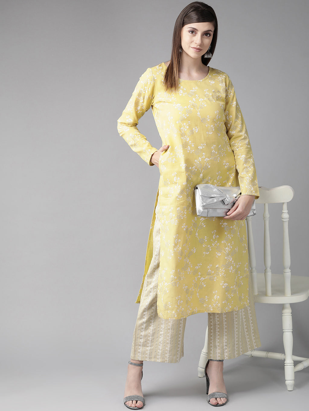 Yellow & White Floral Print Straight Kurta (Fully Stitched)