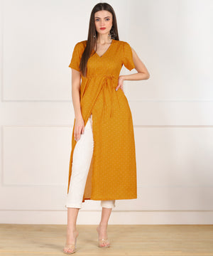 Znx Yellow White Dot Front Slit Dress