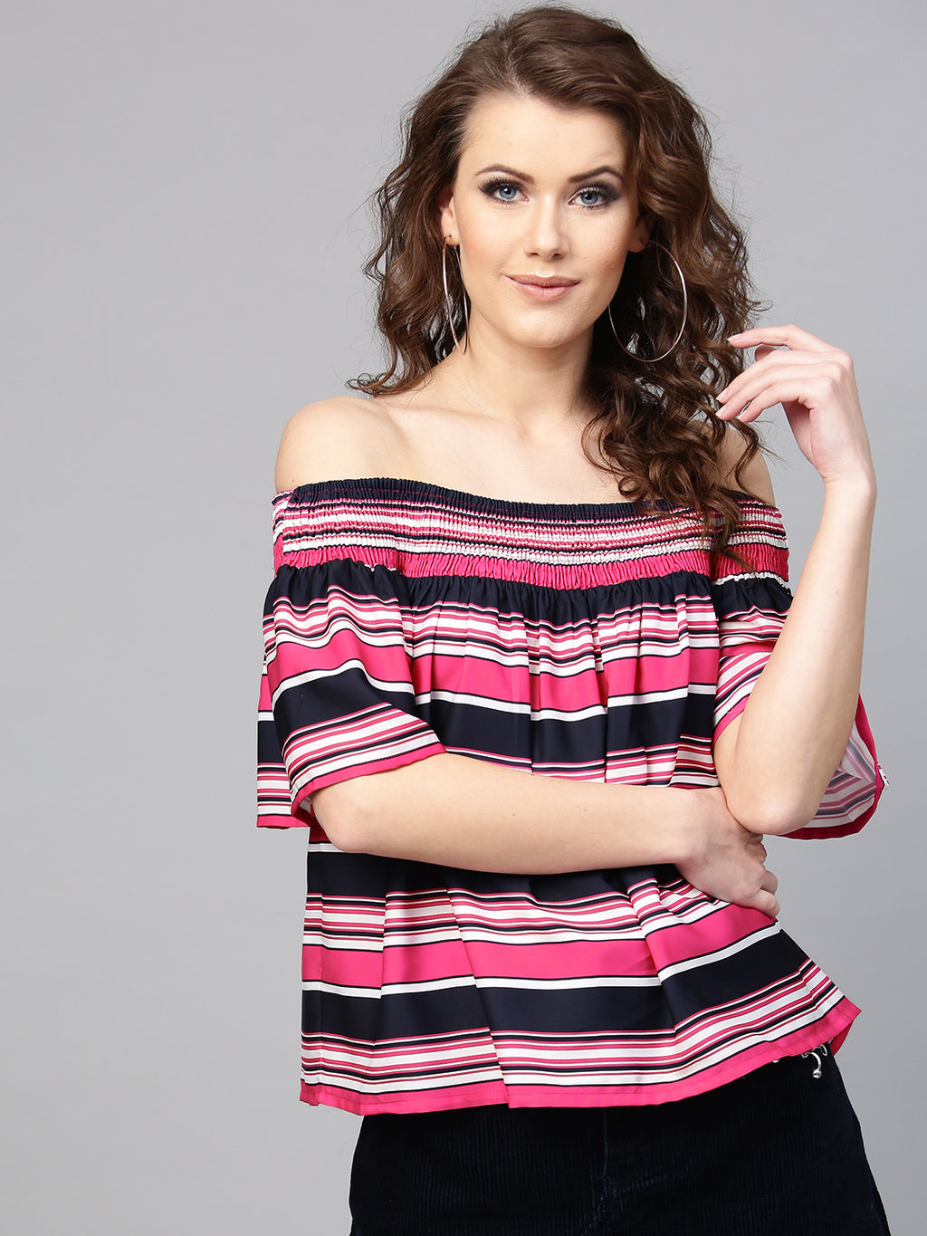 Pink & Navy Striped Bardot Top | Znx4ever.com