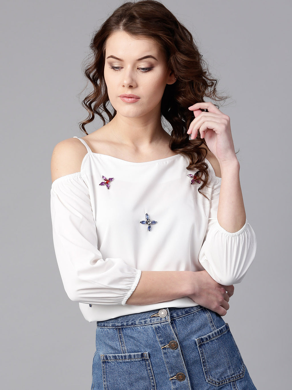 White Embellished Cold-Shoulder Top | Znx4ever.com