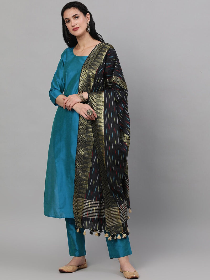 Royal Blue Solid Kurta Set With Ikat Woven Dupatta