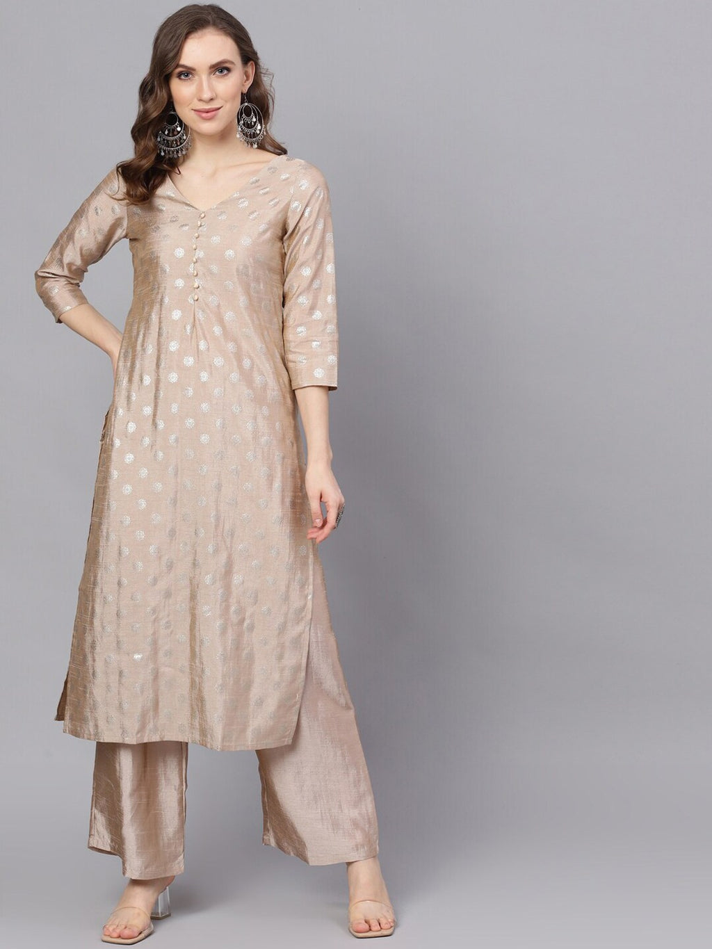 Beige Foil Print Straight Kurta With Palazzo Set