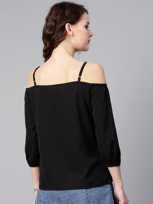 Black Embellished Cold-Shoulder Top | Znx4ever.com