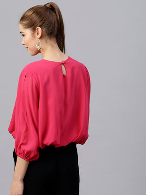Pink Solid Blouson Top | Znx4ever.com