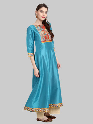 Sky Blue Digital Print Poly Silk Anarkali Kurti With Dupatta | Znx4ever.com