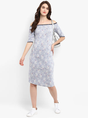 Grey Printed Sheath Dress | Znx4ever.com